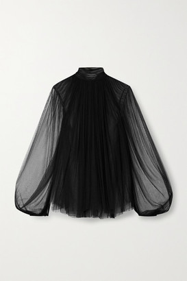 Jason Wu Collection Gathered Silk-blend Tulle Top - Black