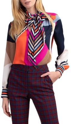 Trina Turk Demming Printed Tie-Neck Top