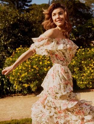 Forever New Eugina Off-Shoulder Ruffle Maxi Dress - Blush Spring Bouquet - 10