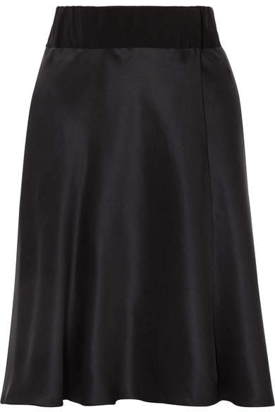 Giorgio Armani Grosgrain-trimmed Silk-satin Wrap Skirt - Black