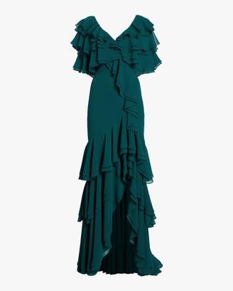 Badgley Mischka Cold Shoulder Ruffle Gown