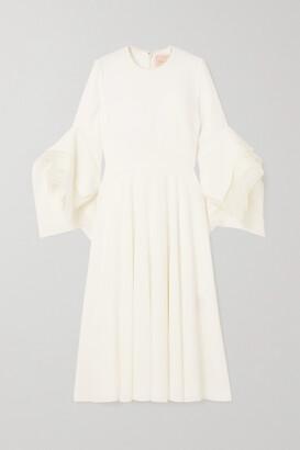 Roksanda Ayres Silk Organza-trimmed Crepe Midi Dress - Ivory