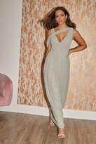 Thumbnail for your product : Little Mistress Bridesmaid Sasha Waterlily Asymmetric Cut-Out Detail Maxi Dress