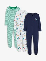 John Lewis & Partners Baby Dinosaur Long Sleeve GOTS Organic Cotton Sleepsuit, Pack of 3, Multi