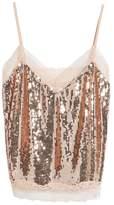 Soprano Women's Lace Trim Sequin Camisole Top
