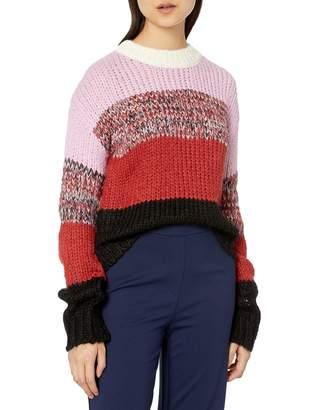 J.o.a. Women's Multi Stripe Mix Pullover Sweater X-Small