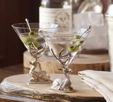Pottery Barn Stag Martini Glass, Set of 2