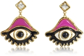 DSQUARED2 Resin and Metal Eye w/Crystals Earrings