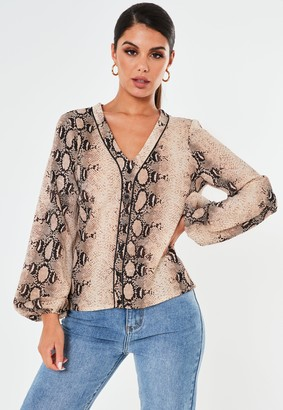 Missguided Brown Snake Print Pyjama Style Shirt
