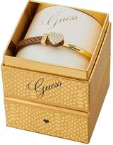GUESS Gold Plated and Leather Crystal Bracelet