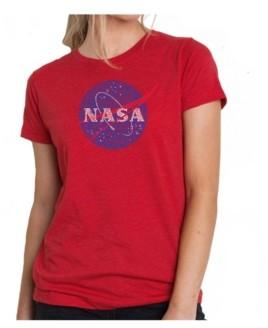 LA Pop Art Women's Premium Word Art T-Shirt - Nasa's Most Notable Missions