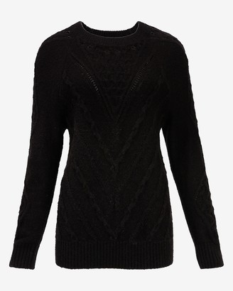 Express Cable Knit Open Stitch Crew Neck Sweater