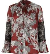 River Island Womens Red floral print lace insert blouse