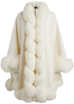 Harrods Cropped Cashmere Fox Fur-Trim Cape