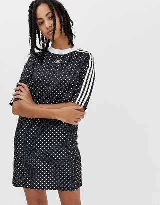 adidas polka dot dress in black and white