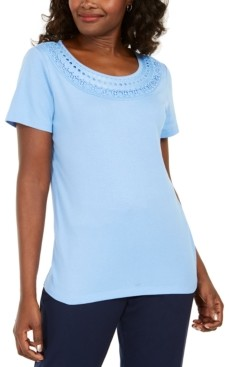 Karen Scott Petite Crochet Scoop-Neck Top, Created for Macy's