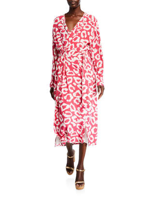 Isabel Marant Calypso Leopard-Print Wrap Midi Dress