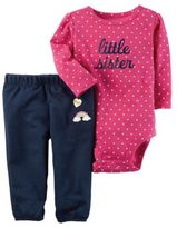 "Carter's 2-Piece ""Little Sister"" Long Sleeve Bodysuit and Pant Set in Pink/Navy"