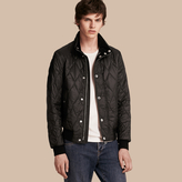 Burberry Stand-collar Military-quilted Jacket with Packaway Hood