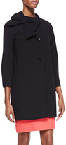 Kate Spade New York Dorothy Coat With Side Collar Bow, Black