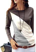 SoForYou SFY Women Casual O-Neck Long Sleeve Patchwork Contrast Color Slim T-Shirt Tops