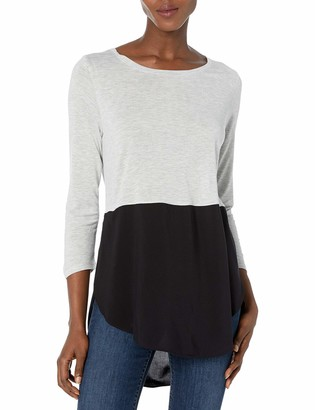 Vince Camuto Women's 3/4 SLV Mixed Media Crewneck Tunic