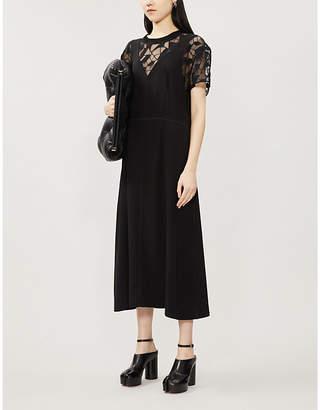 Maison Margiela Lace-panelled round-neck woven midi dress
