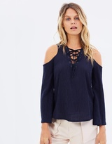 Moon River Front Laced Cold Shoulder Top