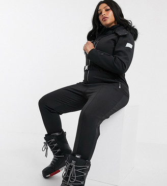Asos 4505 4505 Curve ski fitted belted ski suit with faux fur hood-Black