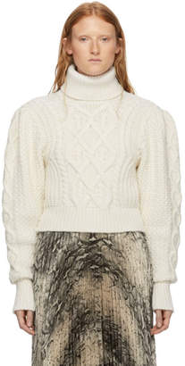 Off-White Wandering Cable Knit Open Back Turtleneck