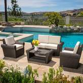 Coleman 4 Piece Rattan Sofa Seating Group with Cushions Rosecliff Heights