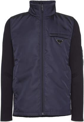Prada Navy Nylon Wool-Sleeve Jacket