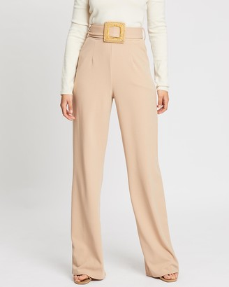Missguided Crepe Wooden Belt Straight Leg Trousers