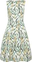 Oscar de la Renta Pleated Printed Jacquard Dress