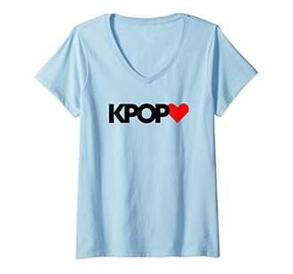 Womens Classic K-Pop Korean Love Heart Cute Music Novelty Novelty V-Neck T-Shirt