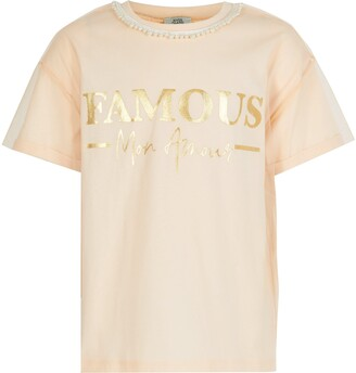 River Island Girls Pink 'Famous' mesh sleeve T-shirt