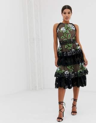 Bronx And Banco & Banco Bridget ruffle midi dress-Multi