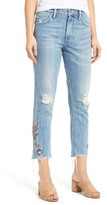 Tularosa Women's Hailey Embroidered Straight Leg Crop Jeans