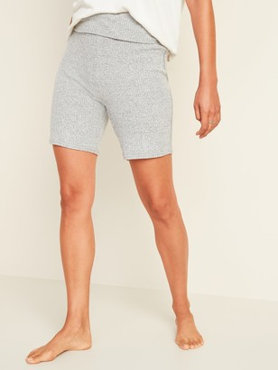 Old Navy Cozy Rib-Knit Rollover-Waist Pajama Shorts for Women -- 6.75-inch inseam