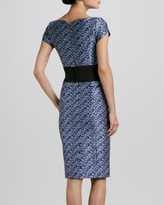 Carolina Herrera Pansy-Jacquard Waistband Sheath Dress