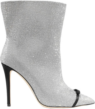 Marco De Vincenzo Pvc-paneled Crystal-embellished Leather Ankle Boots