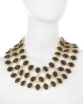 Amrita Singh Three-Row Reversible Black-White Cabochon Bib Necklace