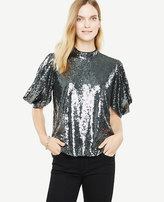 Ann Taylor Petite Sequined Puff Sleeve Top