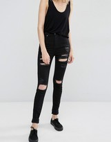 Dr. Denim Zoe Sky High Waist Skinny Jeans with Rips