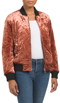 Juniors Crushed Velvet Bomber