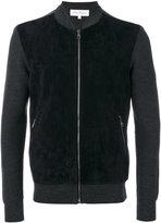 Salvatore Ferragamo bomber-style zipped sweater - men - Calf Leather/Virgin Wool - M
