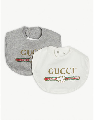 Gucci Logo-print cotton bibs pack of two