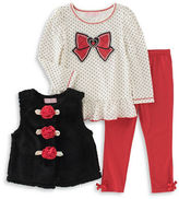 Kids Headquarters Baby Girls Three-Piece Polka Dotted Top, Jacket and Leggings Set