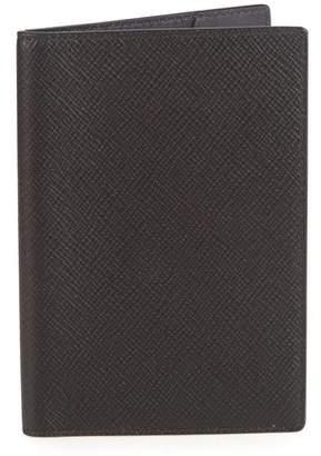 Smythson Logo Embossed Leather Passport Holder - Mens - Black