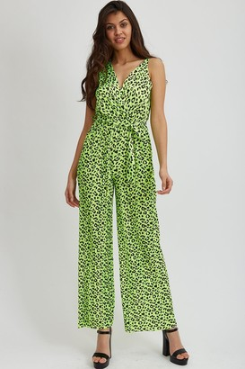 Liquorish Green Animal Print Jumpsuit